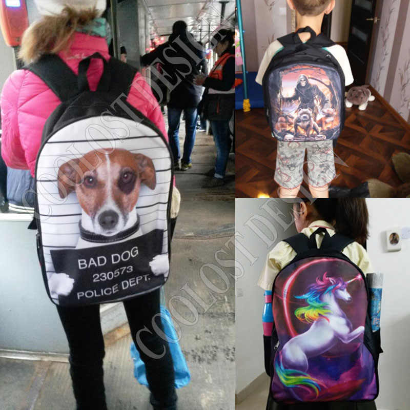 a4239f7a72fc ... Funny Puppy Dog Cosplay Pug War   The Walking Pugs   Stranger Pug  Backpack For Teenager ...