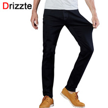 Drizzte мужские джинсы черные высокой стрейч джинсовые бренд мужской джинсы размер 30 32 34 35 36 38 40 42 Брюки брюки