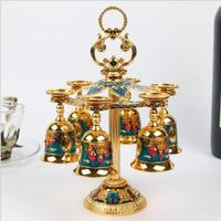 European 6pcs/set decorative metal wine cups wine set drink set whiskey decanter metal decorative cups for moonshine JB003