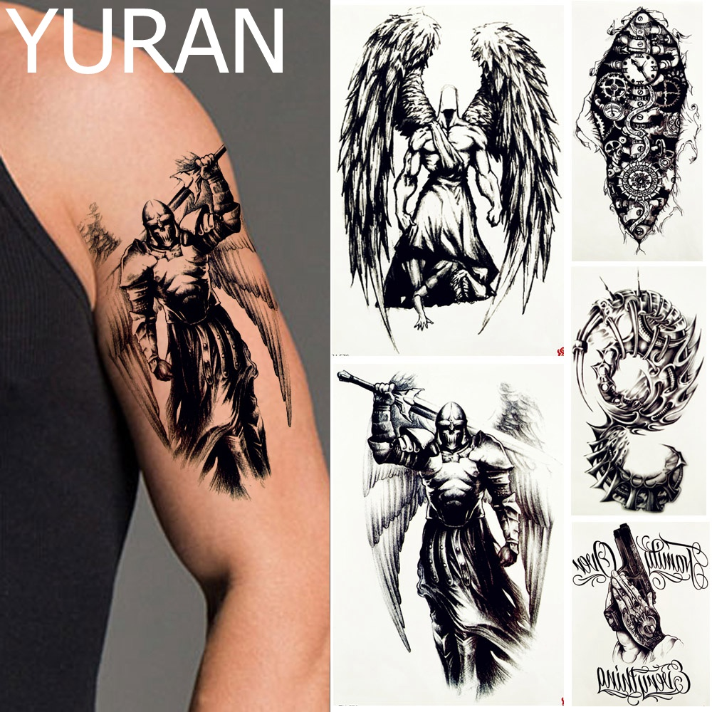 YURAN Men Fashoin Art Tattoo Temporary Black Knight Body