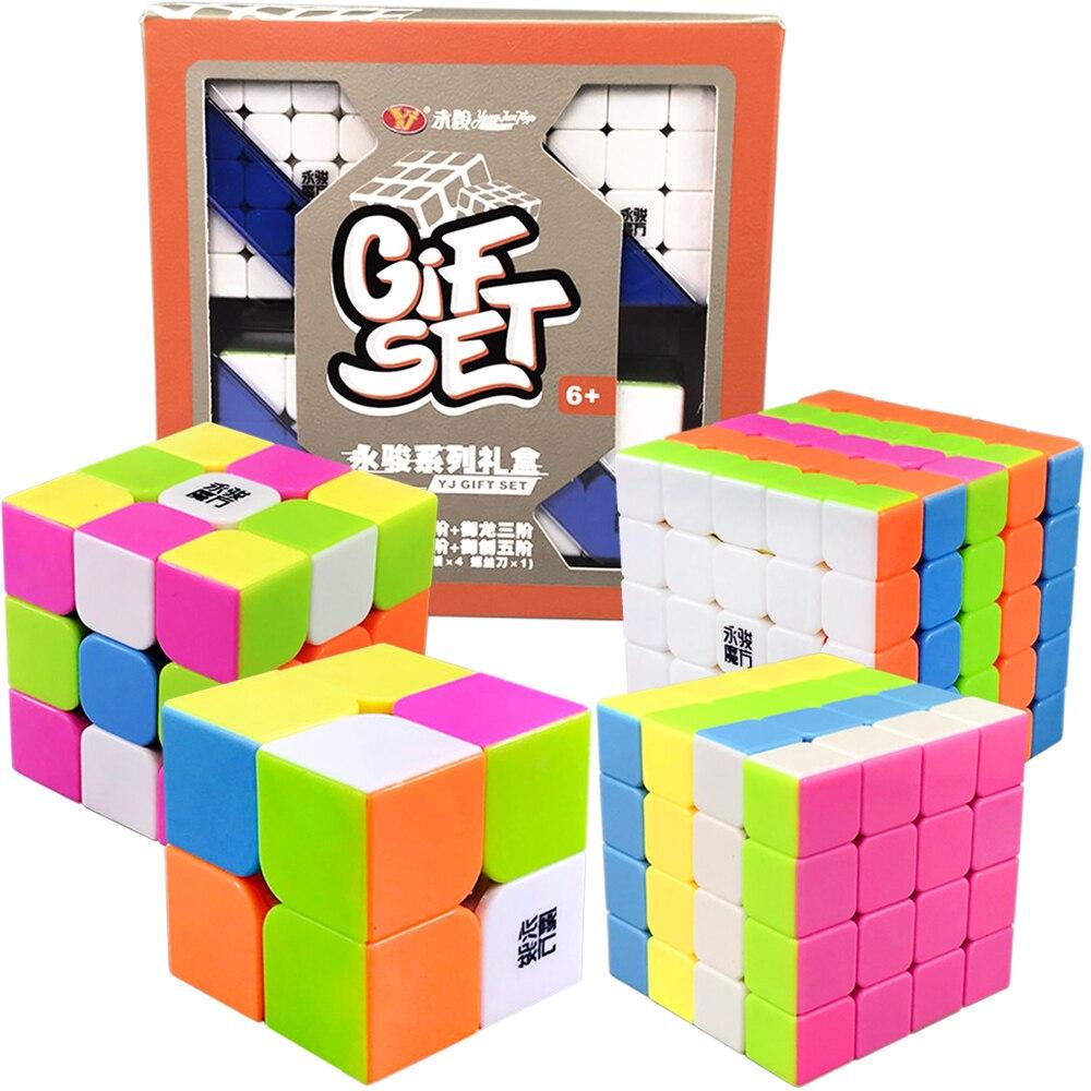 YJ 4 pièces/ensemble Cube Magique 3*3*3 sur 3x3x3 Cubes 2x2 2*2 4*4 5*5 Puzzle Neo Cube 4x4 5x5 2 3 4 5 couches avec boîte-cadeau
