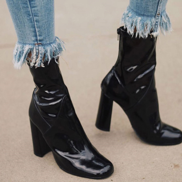 5e373155ffd Shiny Leather Black Ankle Boots For Women Sexy High Heel Shoes Woman Thick Heels  Pumps Bota Feminina Classic Motorcycle Booties
