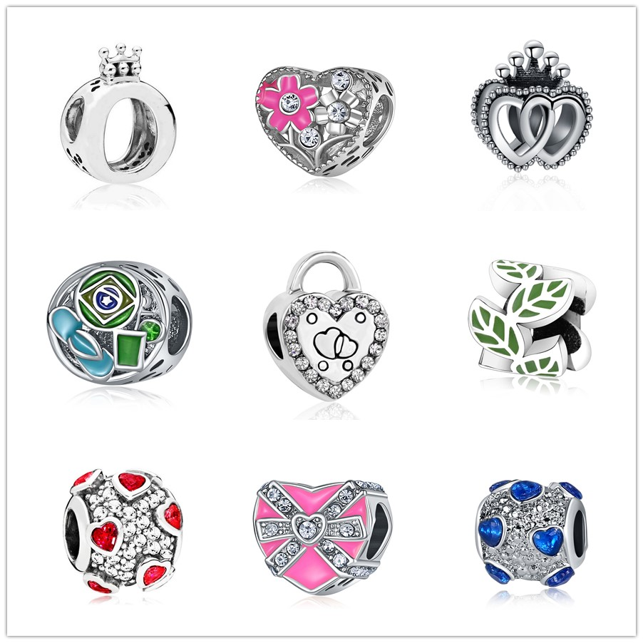 "A /""smile/""  heart silver metal charm bead fit European snake charm chain"