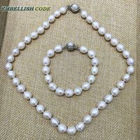 Low Price 9 10mm White Pearl Necklace And Bracelet Set Real Natural Cultured Freshwater Pearl Teardrop