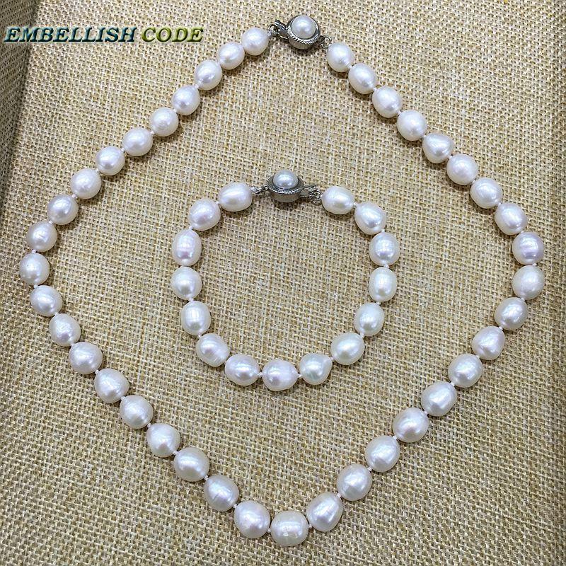 lågt pris 9-10mm vit pärlhalsband och armbandssats verkligt - Märkessmycken