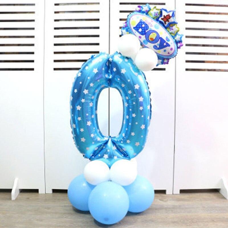 32-дюймовый Цифровой шар детское платье для дня рождения с рисунком надувной детский День рождения украшения вечерние шляпа воздушный шар для колонны игрушка - Цвет: Blue number 0