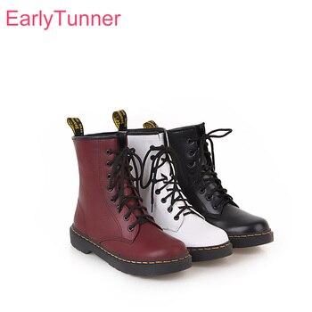 Marca nuevo invierno transpirable negro blanco las mujeres Martin botas de combate de señora de la moda en zapatos de tacones EA9 Plus tamaño grande 10 43