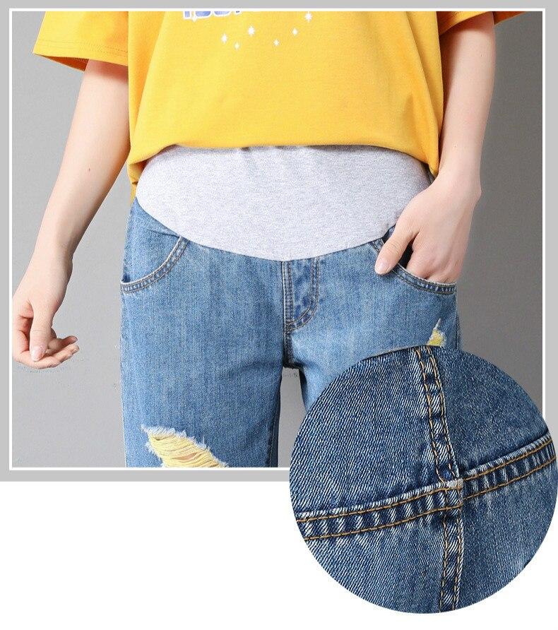 Calças Jeans Maternidade Buraco Moda Jeans Hight