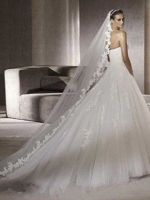 Long Wedding Veils Veu De Noiva 3 Metros Ivory White Tulle Bridal Gown Veils Accessories With Comb Veu Para Noiva Longo Mantilla