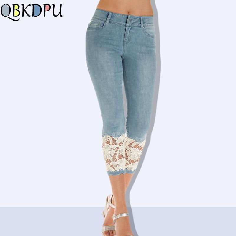 Slim Embroidery Lace Hollow Pants Female Summer Pants Skinny Women Capris Jeans Knee Length Denim Shorts Jeans Stretch Plus Size