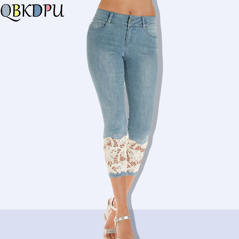 Slim Embroidery Lace hollow Pants Female Summer Pants Skinny Women Capris Jeans Knee Length Denim Shorts Jeans Stretch Plus Size