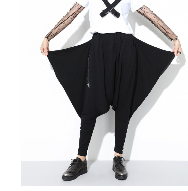 HTB13H5Go4uTBuNkHFNRq6A9qpXag - [EAM] High Quality 2019 Spring Fashion New Loose Casual High Elastic Waist Black Harem Pants Women's Trouser All-match YC79501
