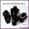Portable Black Velvet Jewelry Dispaly Case Wood Jewellery Stand Mannequin Set Pendant Necklace Holder Organizer Window Showcase
