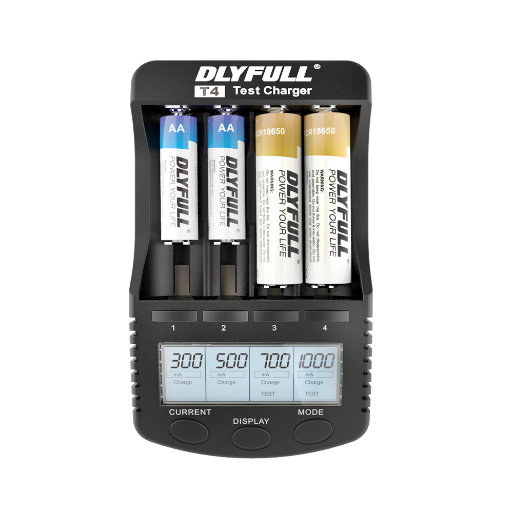 DLYFULL T4 18650 Charger for Ni-Cd Ni-Mh Li ion Batteries 4 Slots Intelligent Battery Charger For AA AAA cargador bateria 18650 original thorfire t2 eu plug 2 slots intelligent battery charger for 18650 aa aaa li on ni mh nicd rechargeable batteries