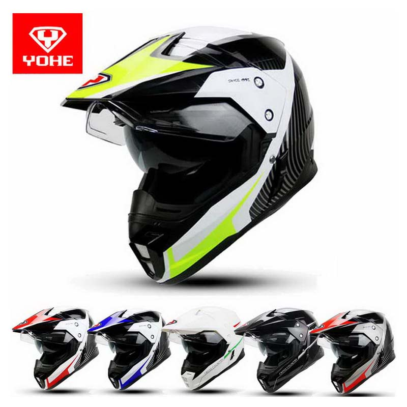 2016 New YOHE Double Lenses Cross-country Motorcycle Helmet Winter Off Road Motorbike Helmets Made Of ABS YH-628A L XL XXL