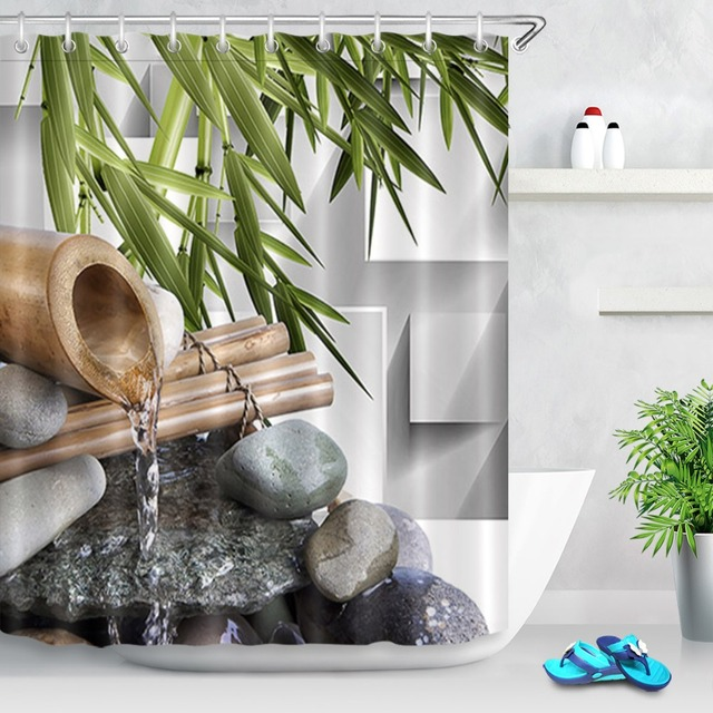 LB 72Asian Zen Spring Water Black Stones Shower Curtain Green Bamboo Polyester Fabric