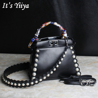 It S YiiYa 3 Colors Popular Genuine Leather Women Simple HandBag Fashion Casual Peals Hasp Quality
