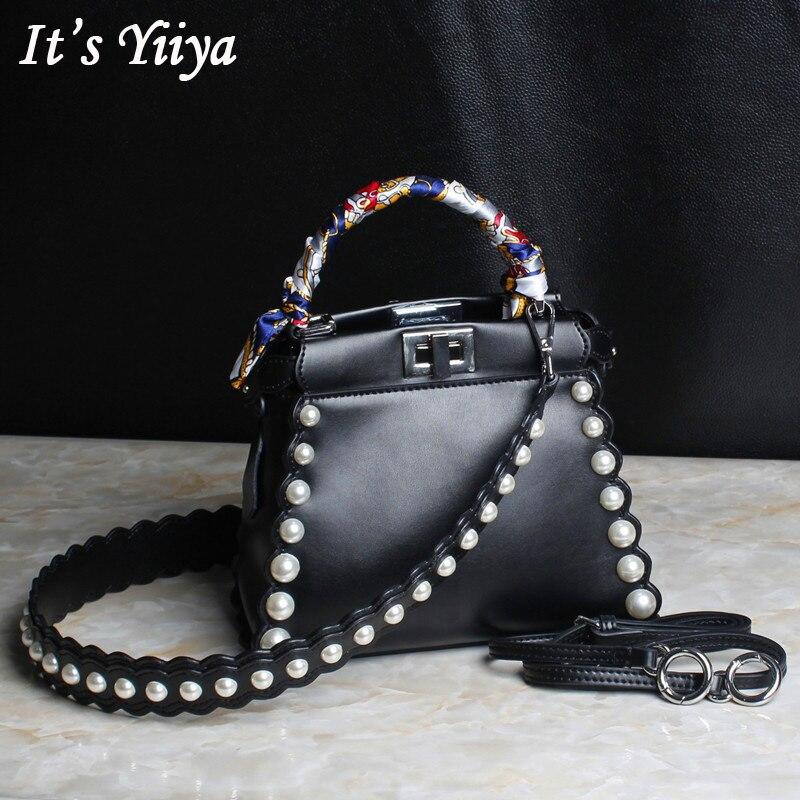 It's YiiYa 3 Colors Popular Genuine Leather Women Simple HandBag Fashion Casual Peals Hasp Quality Messenger Bags SS390 popular sale genuine leather female casual fashion quilted handbag