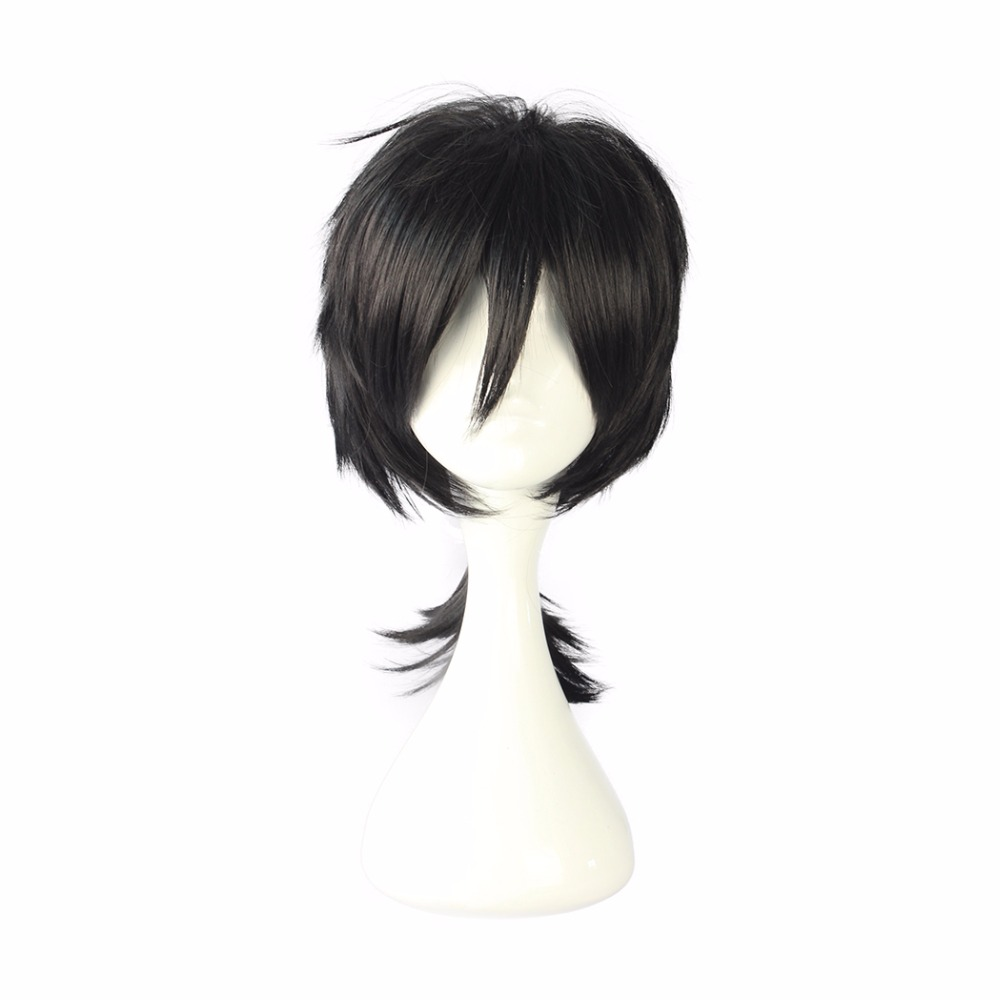 MCOSER 35cm Black Color Short Synthetic cosplay Wig 100% High Temperature Fiber Hair WIG-555J ...