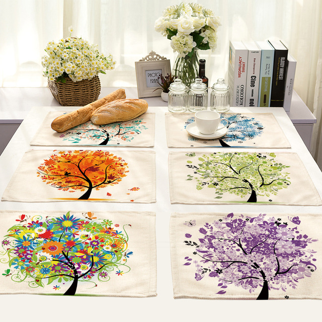4PC/lot Kitchen Table Mats Cotton Linen Tree Print Placemats For Table  Non Slip