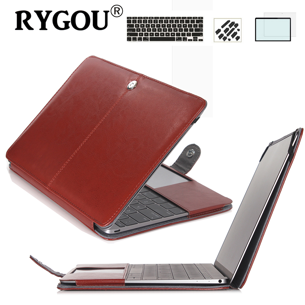 RYGOU Pu lederen tas & toetsenbord cover & screen protector voor Macbook Air Pro Retina 11 12 13 15 inch Flip Clik op Book Shell