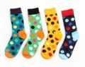 24pcs=12pair HOT cotton Korea happy socks multi colour polka dot unisex brand lover preppy style casual Socks 24pcs/lot