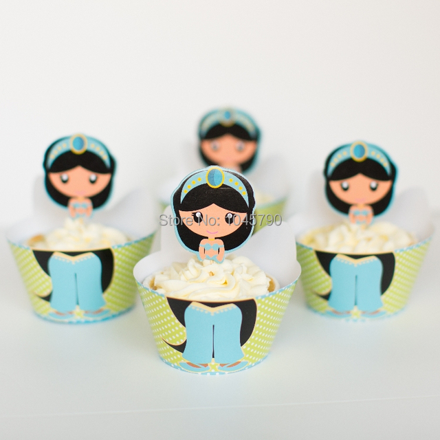 Envío libre 24 unids/lote princesa Jasmine decoración de la fiesta ...