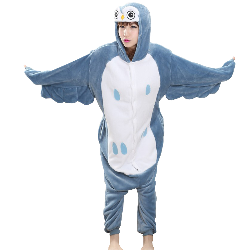 Unisex Women Animal Pajamas Owl onesies for adults Female Pajama warm pijama cos