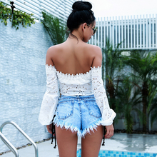 Missord 2018 Summer Sexy Women's New Off Shoulder  long-Sleeved  hollow out T-shirt Top FT9296-1