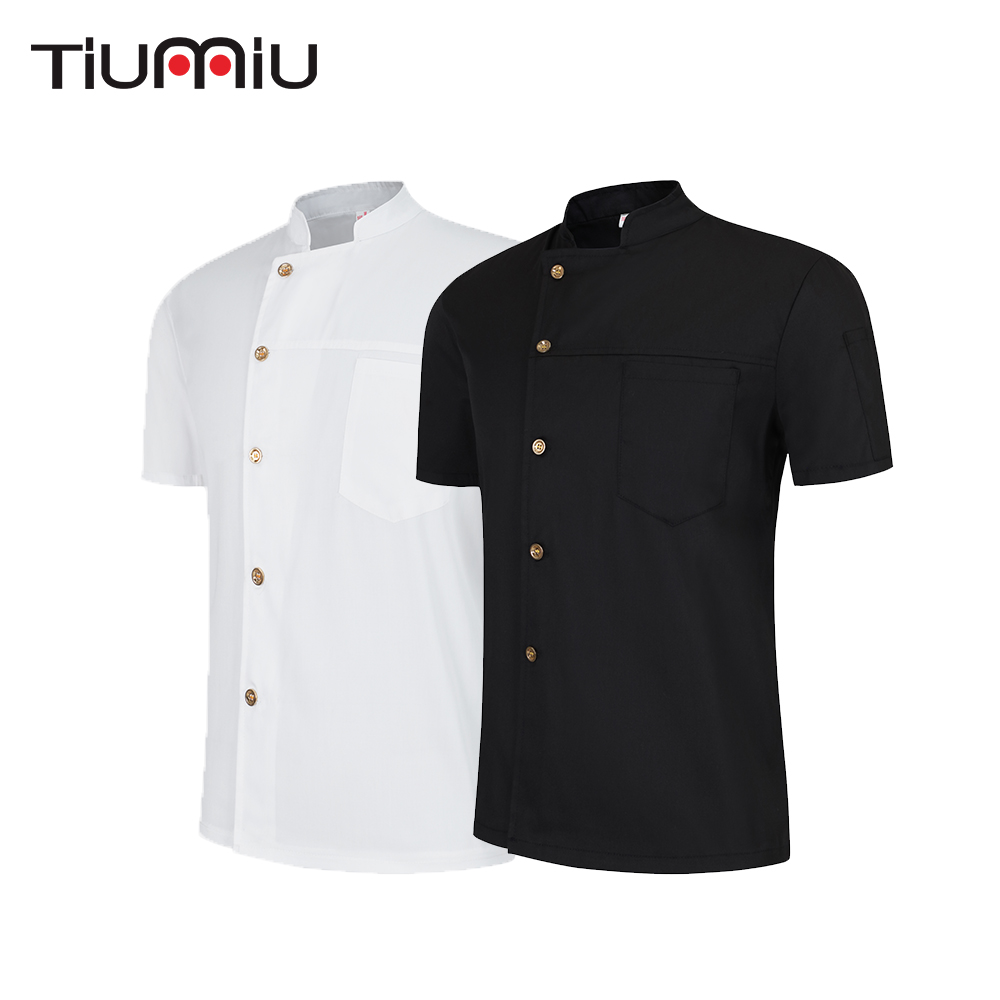 Restaurant Uniforms Shirts Solid Color Short Sleeve Chef Jacket Food Service Hotel Kitchen Work Clothes Men Women Chef Coat
