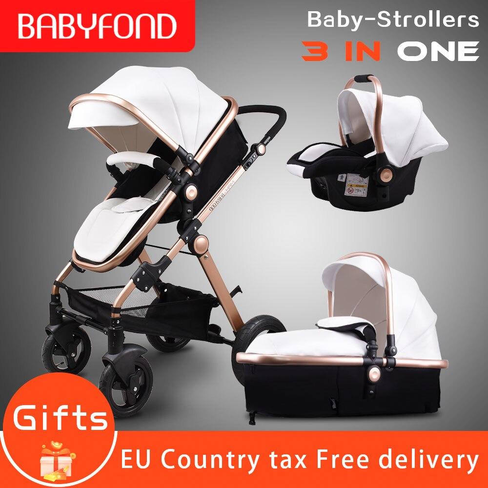 Or bébé poussette bébé de luxe haute paysage landau PU matériel 3 dans 1 poussette avec siège de voiture Landau de sécurité CE Babyfond
