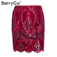 BerryGo Boho Sequin Mesh Floral Embroidery Women Skirt Zipper Streetwear Summer Pencil Skirt High Waist Red