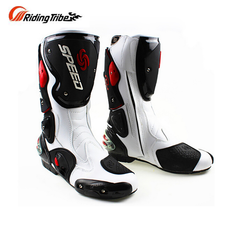 Bottes de moto en cuir microfibre pour hommes bottes de vélo de saleté bottes de moto de course de vitesse bottes de Motocross BOTA B1001 taille: 40 45