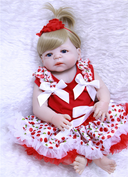"22"" 55cm soft full silicone reborn baby dolls realistic newborn girl babies red princess dress children dolls toys bebe alive"