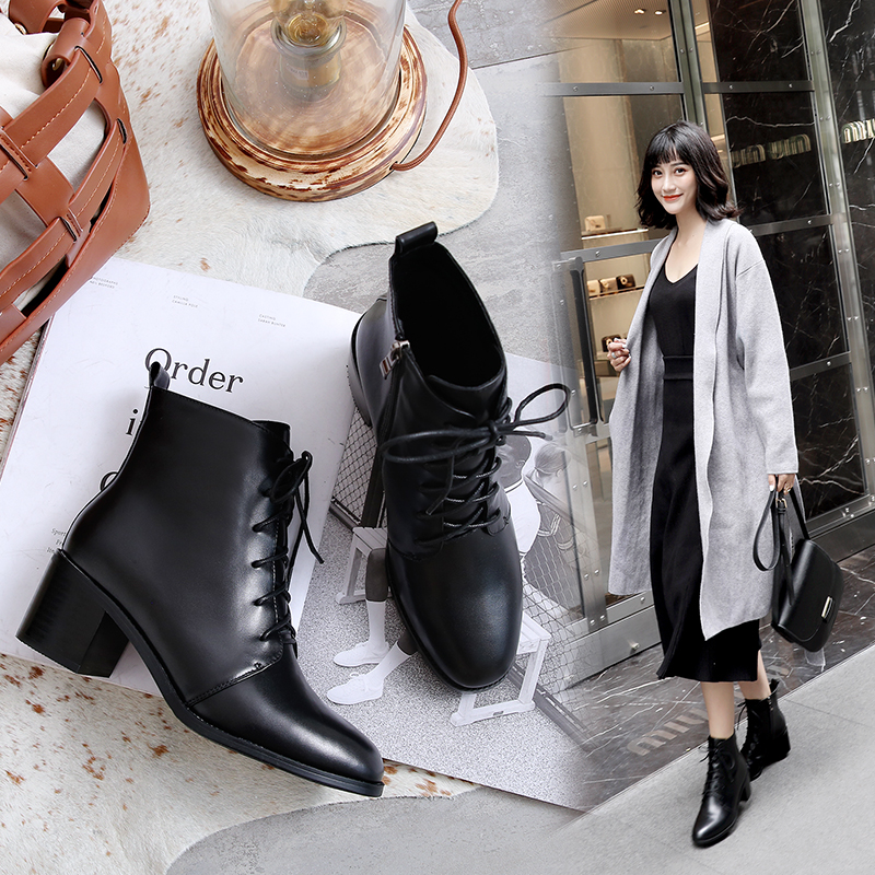 Fashion Round Toe lace up genuine leather black women ankle boots thick heel brand women shoes