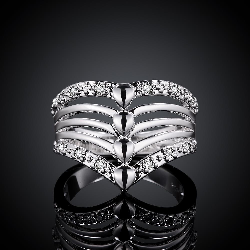 8 Stainless Steel Silver plated R416 Silver plated design finger ring for lady