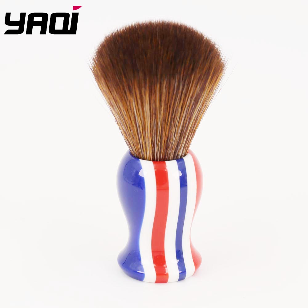 22mm Brown Synthetic Hair Knot Stripe Color Handle Shaving Brush for Men vogue brown gradient braids synthetic senegal twists hair extension for women