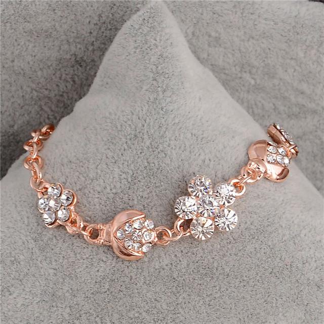 2017 Famous Brand Stylish Women New Fashion Gold Color CZ Crystal Rhinestone Flower Charm Bracelet For Women Bangle Gift Jewelry