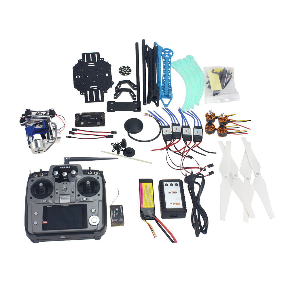 Full Set RC Drone Quadrocopter 4-axis Aircraft Kit 500mm Multi-Rotor Air Frame 6M GPS APM Flight Control 2axis Gimbal F08151-J