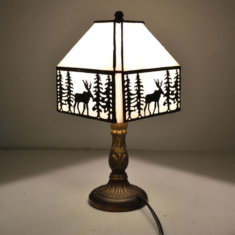 Tiffany table lamp european style elk pattern stained for Glass bedside lamp shades