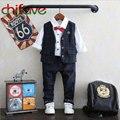 2016 Nova Primavera Outono Crianças Menino Define Moda Pequeno Cavalheiro Xadrez Outerwear Colete + Calça 2 pcs Ternos Formais Crianças Roupas menino