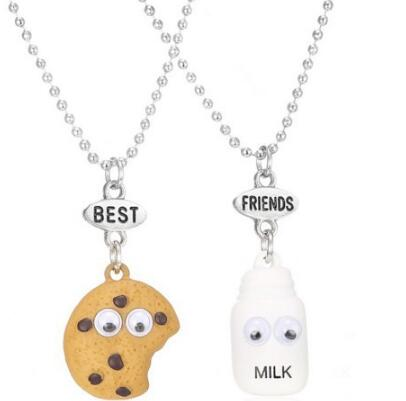 2Pcs/set Super Cute Best Friends BFF pendant bead chain necklace fastfood milk cookie biscuit kids jewelry