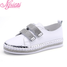 2019 Spring Leather Women Flat Shoes Casual Loafers Round Toe Slip-on Split Leather Flat Platform Ladies White Shoes Nysiani enmayla spring summer flat platform white shoes woman embroidered shoes women slip on height increasing casual loafers shoes