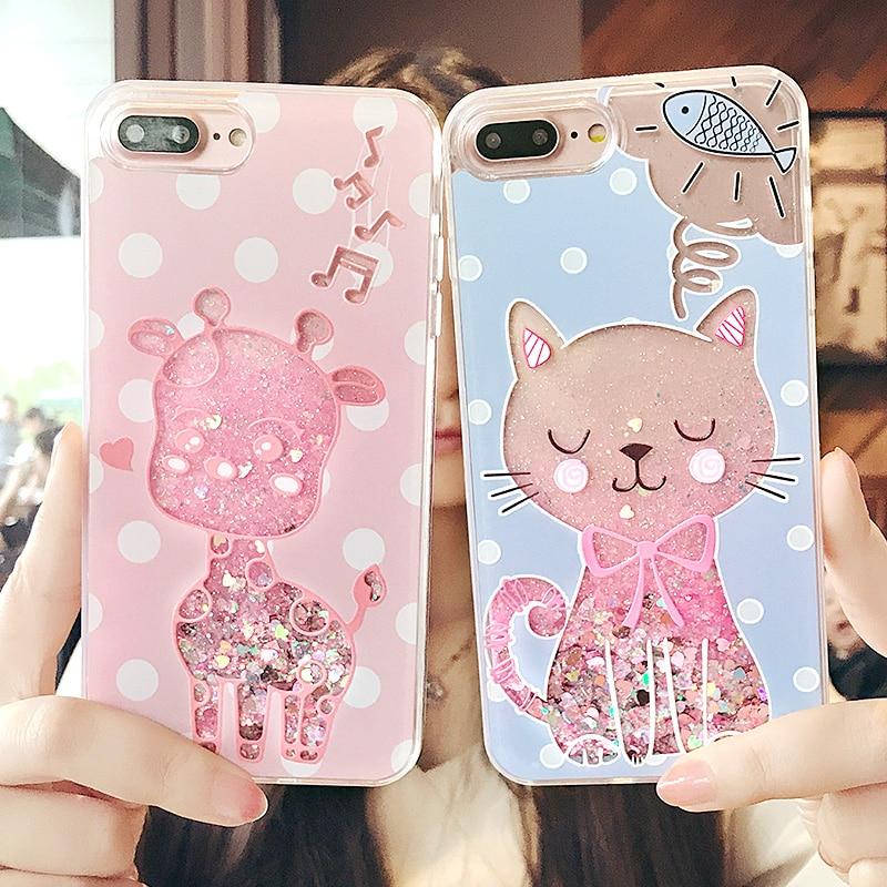 3D милый кот Жираф чехол для iPhone 6 6 S Блеск динамический colorfu Фламинго зыбучие пески подарок чехол для телефона для 7 Чехол для iPhone 7 Plus