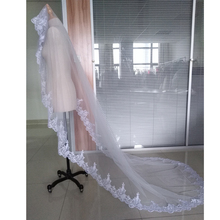 Hot Sale Wedding Veil Lace Cathedral wedding accessories White Ivory 3 M Cheap Long Voile Marriage Bridal Veil Without Comb