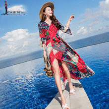 Dress Female Summer Chiffon Was Thin Bali 2018 New V-neck Seaside Holiday Printed Seven-point Sleeves Beach Women