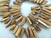 wholesale full strand 17inch /L Titanium quartz crystal freeform spikes points drilled briolettes golden jewelry chains bead