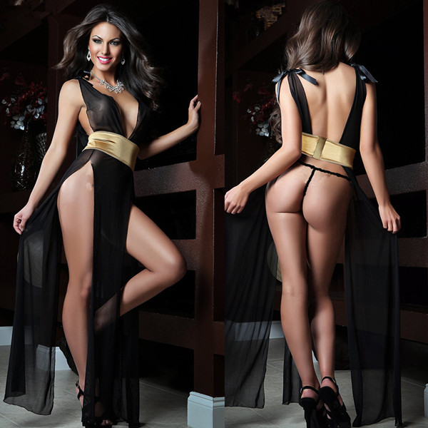 Halloween sexy costumes for women perspective sleepwear high side slit nightwear christmas club ball party dress for carnaval
