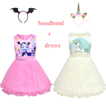 Children Vampirinas Unicorn Costume Princess Party Evening Dress Baby Girl Child Clothing Vestido Unicornio Headband 2019 summer new girls dress baby princess mesh dress tutu child flower vestido children clothing baby costume