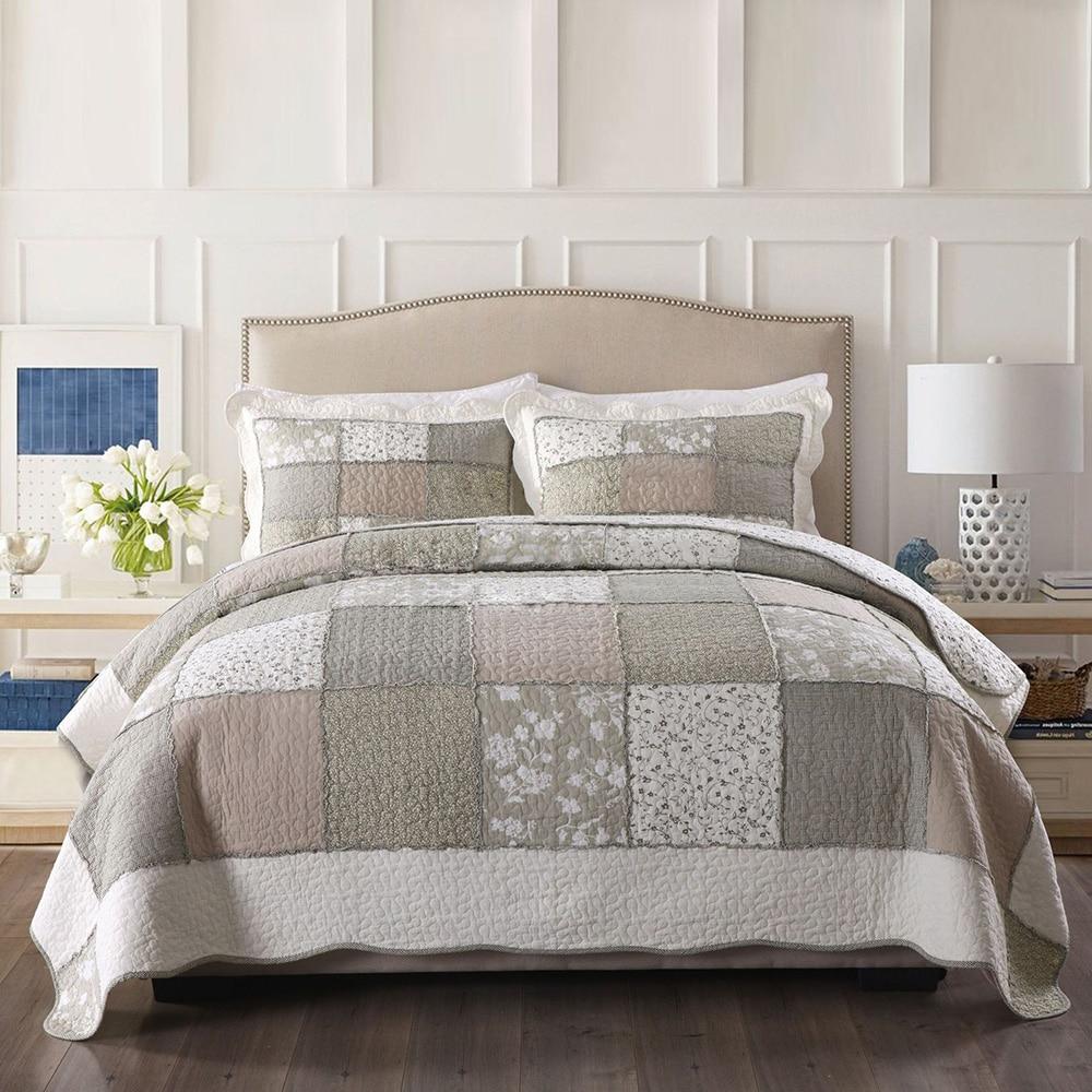 handmade bedspread quilt set 3pcs 4pcs patchwork coverlet quilted bedding cotton quilts duvet covers pillowcase king size